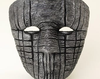 Silver Paper Mache Mask Death Eater Mask Scary Mask Creepy Mask Adult Mask