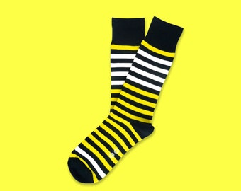 Yellow Stripe Socks - Men's Socks. Mens Dress Socks. Unique Socks. Fun Socks. Colorful Socks. Bee Socks. Cool Socks.