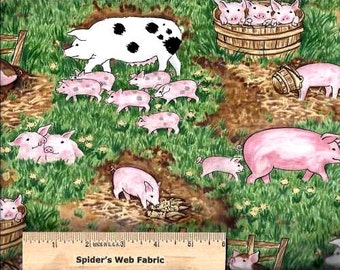 Timeless Treasures Fabric - PIGS and PIGLETS on the FARM - 100% Cotton - Quilt Shop Quality - Baby Pigs - Sold by the Yard