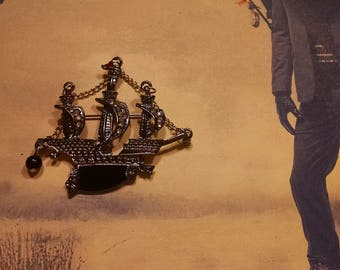 Pirate Ship Brooch, Queen Ann's Revenge, front and back pictures.