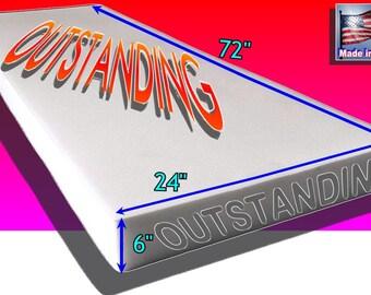"Medium Density Upholstery Foam size 6"" X 24"" X 72""- Free Shipping to mainland USA"