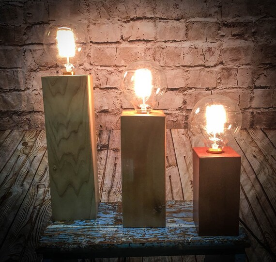 Wood Block Table Lamps
