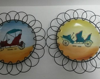 Mid Century Wire Framed Art Hand Painted Ceramic Plates with Antique Cars Buick 1908 and Maxwell 1911 Wall Hangings