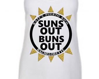 Suns Out Buns Out Bridal Tank- bride tank wedding tank tops bachelorette tanks  gold glitter silver glitter