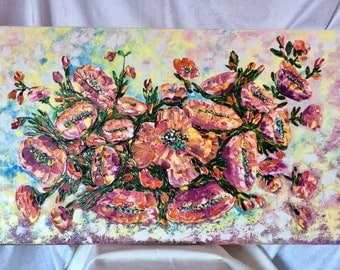 """Poppy oil painting 'Stained poppies"""", original painting of poppies,  canvas 60x100cm, palette knife"""