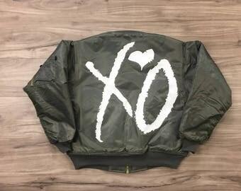"The Weeknd Starboy ""XO"" Bomber Jacket (White-Print)"