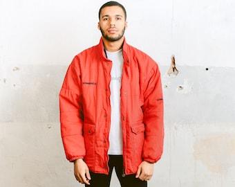 Red Puffer Jacket . Vintage Umbro Windbreaker Red Sports Jacket Rain Wind Jacket Oversized 90s Jacket Mens Puffer Coat Outerwear . size XL