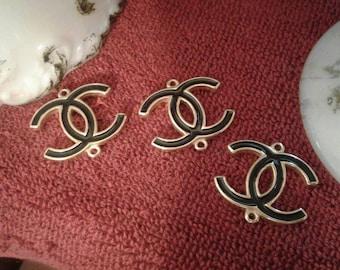 Vintage Chanel Connectors Buttons Metal Eanamel Black