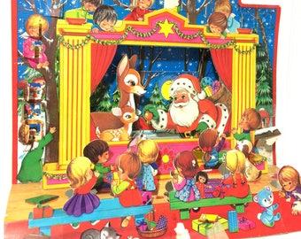 Vintage 3D Movable Advent Calender Santa and Reindeer