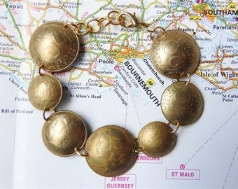 France yellow/gold 10/20 centimes curved coin bracelet - made of coins from France