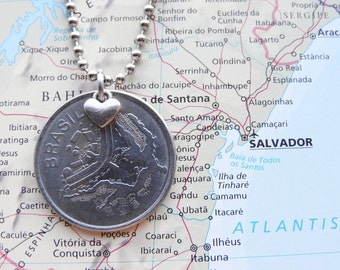 Brazil coin necklace - 4 different designs - made of original coins from Brazil - wanderlust - globetrotter