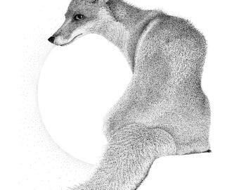 Fox wall art, limited edition monochrome giclee print, A4 and A3 pointillism (dotwork) fox drawing, signed wildlife artist wall art