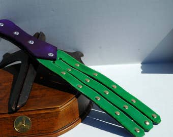 Green and Purple Leather Tawse, BDSM Flogger, Leather Flogger,  BDSM Toys, Paddle, 5 Finger Tawse, St. Patrick's Day, St. Patty's Day