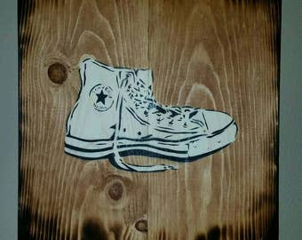 Rustic old school Chuck All Star with mounting bracket by Crowzart | FREE SHIPPING | spray art on wood.