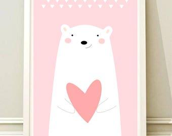 Nursery Wall Art Print, Kids Art Print, Animal Nursery Print, Printable Nursery Poster, Bear poster, Kids room,Instant download