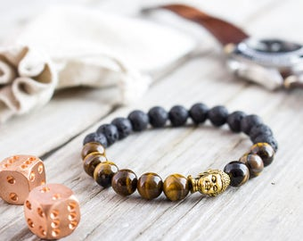 8mm - Tiger eye and black lava stone beaded gold Buddha head stretchy bracelet, yoga bracelet, mens bracelet, womens bracelet