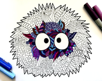 Soot Sprite - PDF Zentangle Coloring Page