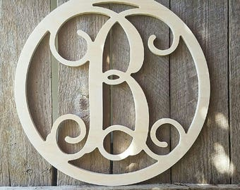 Unfinished Wood Monogram Letter with Border - Monogram Door Hanger