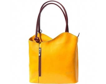 Italian handmade leather convertible shoulder bag backpack in yellow & brown