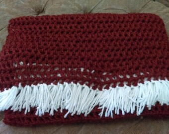Vintage Red and White Lap Blanket Wrap Blanket Hand-knitted