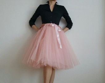 Tulle skirt petticoat old rose 60 cm skirt length