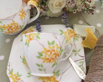 ART DECO Tea Cup saucer and Plate 1930s Grafton China TRIO perfect for a spring wedding or baby shower
