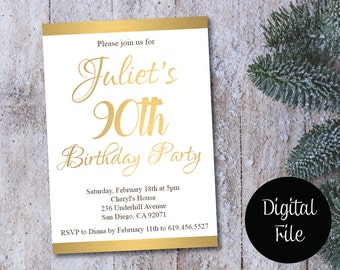 90th Birthday Invitation/Printable Gold & White Birthday Invitation/e-card invitation/Template/Birthday Invitation/ninetieth birthday