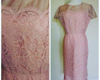 Clearance *** Fabulous Pink Illusion Lace Vintage Dress
