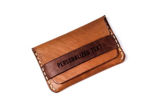 Personalized leather cardholder - leather credit card holder - Custom card holder - leather wallet - Gift card holder - Brown cardholder