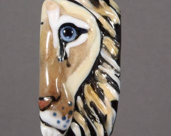NEW!  Lion Focal Lampwork Glass Bead - Big Cat Eye of the Wild Tile Style Partial View Collection