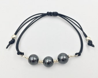 Bracelet in silver and hematite