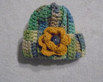1 Infant Med Hand Crocheted Multi Colored with Gold Flower Baby Hat (HT 19)
