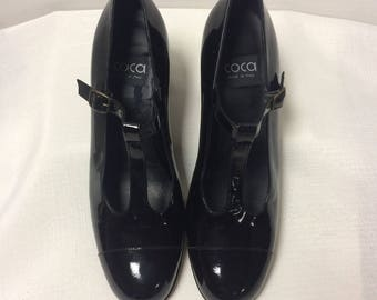 Vintage, Black, Patent Leather, Chunky Heel, T Strap Mary Jane Shoes by Coca, Made in Italy, Size 8.5 B