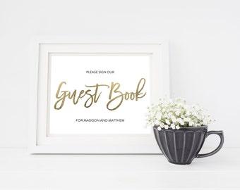 Wedding Sign Template   Guest Book Sign   Wedding Sign   Printable Wedding Sign   5x7 & 8x10   EDN 5435