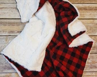 Minky Baby Blanket- Baby Boy Blanket-Buffalo Plaid Blanket- Lumberjack blanket- Lumberjack Nursery