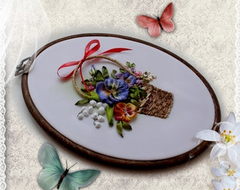 The picture is embroidered with ribbons Bouquet of pansies and lilies of the valley 3d Ribbon Embroidery Wall Art