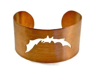 copper cuff bracelet - Halloween bracelet - wide copper cuff -  bat bracelet - Halloween jewelry - bat jewelry - seventh anniversary gift