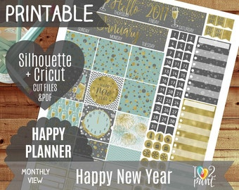 New Year Monthly View Stickers, Printable Planner, HP 2017 Watercolor Stickers, Happy Planner ...