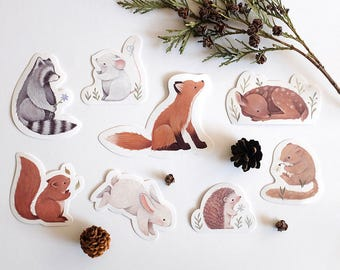 Woodland Sticker Set by Nina Stajner : Rabbit, Fawn, Dormouse, Hedgehog, Squirrel, Raccoon, Mouse, Fox.
