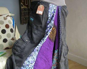 Harem pants grey trellis, wax and Saharawi fabric S Akwaba Creations