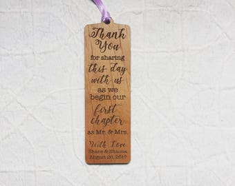 Engraved Wood Thank You Favor Bookmark