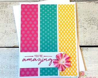 You're Amazing Greeting Card, Just Because, Handmade Card, Bright Card, Handmade Greeting Card, Friendship Card, Teacher Card
