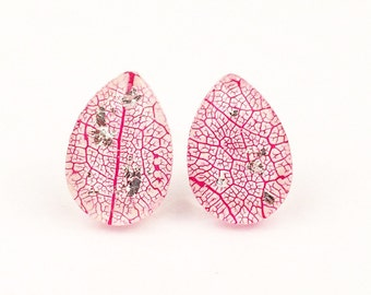 Leaf vein studs, Teardrop earrings, Pink stud earrings, Sterling silver botanical earrings, Resin jewelry, Graduation gift, Gardener gift