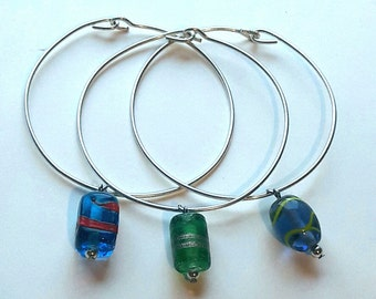 Summer Rain large size stacking bangles, Indian bead charms