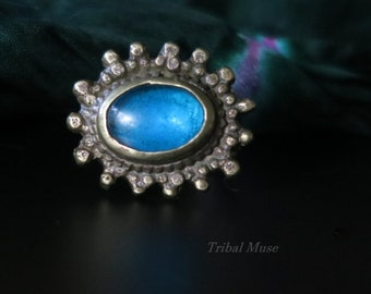 OLD KUCHI RING with Blue Stone - Vintage Tribal Jewelry - Size 8-1/2
