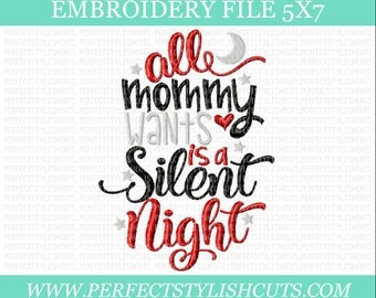 Christmas Embroidery Designs - Silent Night, 5x7 Embroidery File, Santa Embroidery, Holiday Embroidery, Machine Embroidery Designs