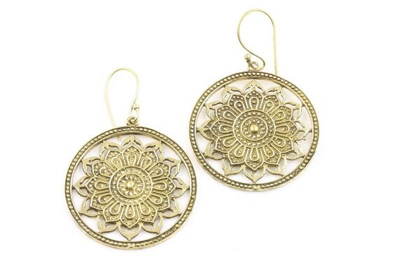 Mandala Brass Earrings, Tribal Brass Earrings, Festival Earrings, Gypsy Earrings, Ethnic Earrings, Mehndi Brass Earrings