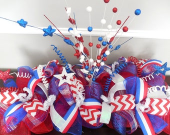 Fourth of July Centerpiece, 4th of july centerpiece, fourth of july center piece, 4th of july center piece, patriotic centerpiece