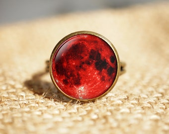 Blood Moon rings, Lunar Space rings, Red Moon Lunar Eclipse ring,Gothic Ring