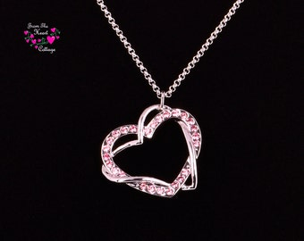 Pink and Silver Heart Necklace, Rhinestone Necklace, Valentine's Day, Heart Pendent, Bridal, Women's Gift, Birthday Her, Love Necklace